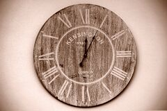 Kensington Brown Round Wall Analog Clock Stock Photo