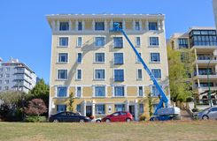 Vancouver Architecture Restoration and Maintenance. The Kensington, a landmark and historic apartment building in Vancouver, BC and restoration work conducted on Stock Image