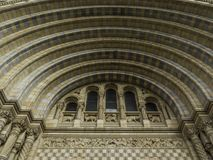 Natural History Museum arches at the main entrance. Kensington, London, UK - September 9 2017: The arches over the main entrance of the Natural History Museum in Stock Image