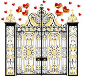 Kensington palace  gate with hearts, home of duke and duchess of cambridge, royal love, valentines day. Kensington palace  gate with hearts, home of duke and Stock Photos