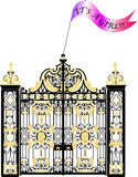 Kensington Palace Gate, newborn royal baby girl announcement Stock Photo