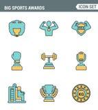 Kent de vastgestelde de premiekwaliteit van de pictogrammenlijn van grote sporten de overwinning van de de kopsport van de kampio Royalty-vrije Stock Foto
