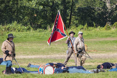 Confederate Soldiers and Flag Royalty Free Stock Photos