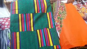 Kente fabric and daishiki fabric stacked Royalty Free Stock Image