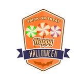 Kenteken, het embleem of het etiket van Halloween het uitstekende royalty-vrije illustratie