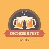 Kenteken van de het festival het vlakke illustratie van het Oktoberfestbier stock illustratie