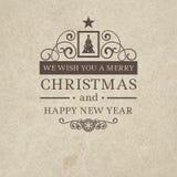 Kenteken van de stijl in Vrolijke Kerstmis van de premieklasse het uitstekende retro vlakke Stock Foto
