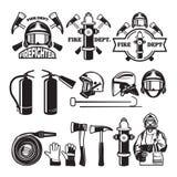 Kentekens en etiketten voor brandweerkorps worden geplaatst dat royalty-vrije illustratie