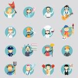 Kentekens met avatars van verschillende beroepen Stock Afbeeldingen