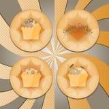 Kentekens met cupcakes Stock Fotografie