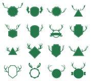 Kentekens met hertenhoornen op witte achtergrond Royalty-vrije Stock Foto's