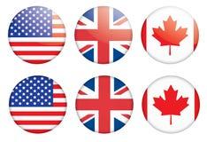 Kentekens met vlaggen Royalty-vrije Stock Afbeelding