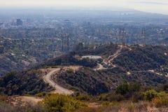 Kenter śladu podwyżki ścieżka w Brentwood, Los Angeles, Kalifornia Oszałamiająco panoramiczny widok przegapia Zachodniego los ang Obrazy Royalty Free
