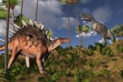 Kentrosaurus and Ceratosaurus Stock Photos