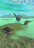 Kentrosaurus and dicraeosaurus dinosaur - 3d Royalty Free Stock Photo