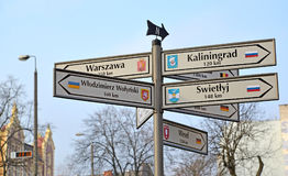 KENTShIN, POLAND. The index of distances and  the directions to the cities of Russia, Ukraine, Germany Stock Images