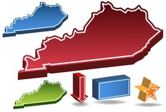 Kentucky 3D. Set of 3D images of the State of Kentucky with icons Stock Images