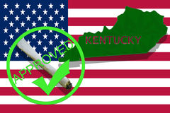 Kentucky on cannabis background. Drug policy. Legalization of marijuana on USA flag, Stock Images