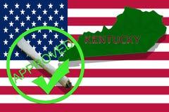 Kentucky on cannabis background. Drug policy. Legalization of marijuana on USA flag, Stock Images