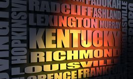 Kentucky cities list. Image relative to USA travel. Kentucky cities and places names cloud. 3D rendering royalty free stock image