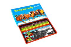 Kentucky Derby game board of 1938. MOORHEAD, MINNESOTA, February 24, 2019: The colorful Kentucky Derby board game is a product of Whitman Publishing Co of royalty free stock photo