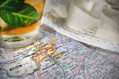 Kentucky Derby. A derby hat and a mint julep pictured with a map of Louisville, KY royalty free stock image