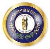 Kentucky Flag Button. Kentucky state flag button with a gold metal circular border over a white background Royalty Free Stock Photo