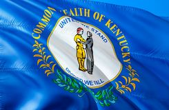 Kentucky flag. 3D Waving USA state flag design. The national US symbol of Kentucky state, 3D rendering. National colors and royalty free stock photography