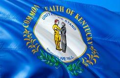 Kentucky flagga 3D som vinkar design för USA tillståndsflagga MedborgareUSA-symbolet av den Kentucky staten, tolkning 3D Nationel royaltyfri fotografi