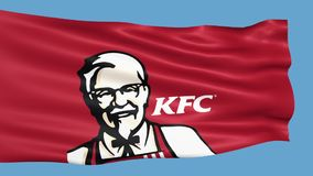 Kentucky Fried Chicken flag waving in the wind stock footage
