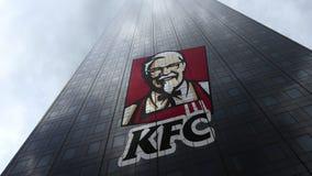 Kentucky Fried Chicken KFC logo na drapacz chmur fasadzie odbija chmury Redakcyjny 3D rendering Obrazy Royalty Free