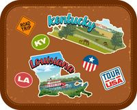 Kentucky, Louisiana travel stickers with scenic attractions. And retro text on vintage suitcase background Stock Photo