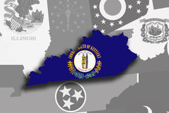 Kentucky map and flag Royalty Free Stock Image
