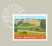 Kentucky postage stamp design. Vector illustration. Kentucky postage stamp design. Vector illustration of horses grazing in green fields with stables in