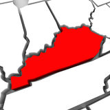 Kentucky Red Abstract 3D State Map United States America Royalty Free Stock Photography