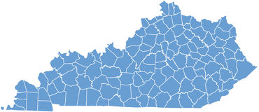 Free Kentucky State Map By Counties Royalty Free Stock Image - 11564286