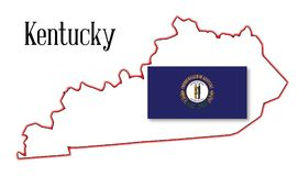Kentucky State Map and Flag Royalty Free Stock Photography