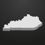 Kentucky State map in gray on a black background 3d Royalty Free Stock Photography