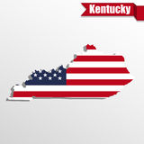 Kentucky State map with US flag inside and ribbon Stock Photos