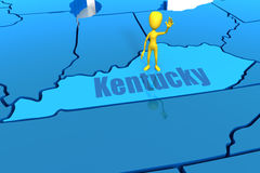 Kentucky state outline with yellow stick figure Royalty Free Stock Image