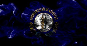 Kentucky state smoke flag, United States Of America. On a black background stock image