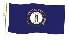 Kentucky State Waving Flag And Flagpole stock image