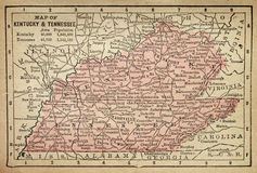Kentucky and Tennessee map Stock Photos