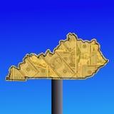 Kentucky warning sign with dollars Stock Photos