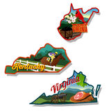 Kentucky West Virginia and Virginia state illustra. Kentucky West Virginia and Virginia Luggage suitcase stickers Royalty Free Stock Photos