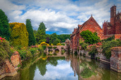 Kentwell Hall Moat Foto de Stock Royalty Free