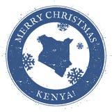 Kenya översikt Kenya för glad jul för tappning stämpel vektor illustrationer