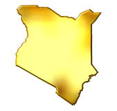 Kenya 3d Golden Map Royalty Free Stock Photo