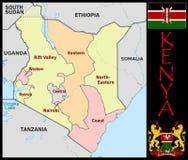 Kenya Administrative divisions. Kenya map flag and coat Stock Images