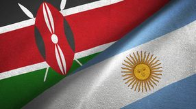 Kenya and Argentina two flags textile cloth, fabric texture. Kenya and Argentina flags together textile cloth, fabric texture vector illustration